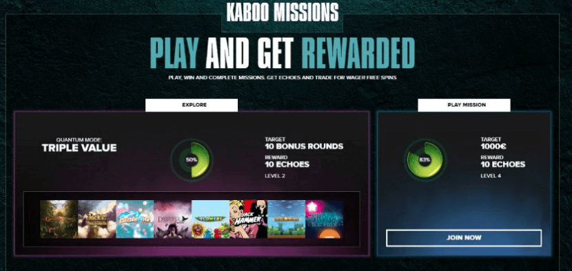 Casino Kaboo have new missions included